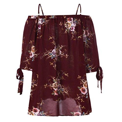 Damen Shirt, MOIKA Damen Long Sleeve Blumendruck Schulter Top (3XL, Wein) (Hundegeschirr Wein)