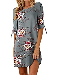 7d5a5237504b Longra Damen Sommerkleider Knielang Bowknot 3 4-Arm Blumenmuster Kurzes  Strandkleid Damen Rundhals Floral Kleid Casualkleid…