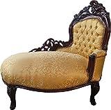 Casa Padrino Barock Kinder Chaiselongue Gold Muster/Mahagoni Braun - Recamiere Kindermöbel