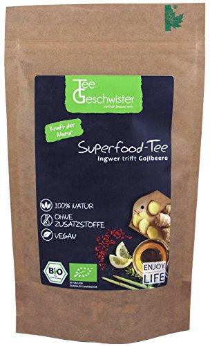Tee-Geschwister BIO Superfood Ingwertee mit Gojibeeren | Erkältungs-Tee | Geschenk-Idee für Gute Besserung Geschenke | Ingwer Zitronen-Tee | ohne Zusatzstoffe | 100g