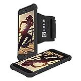Gear Beast Sportarmband mit abnehmbare Schutzhülle für iPhone 7Plus, 8Plus. Handy Halterung für Running Joggen Workout Fitness Übung. Wasserdicht Band, Schlüsseltasche, sichere Montage System, iPhone 7 Plus, schwarz