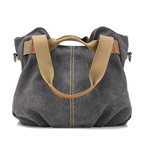 Myleas Damen Damen Casual Vintage Hobo Canvas Daily Geldbörse Top Handle Schulter Tote Shopper Handtasche - Handtaschen Geldbörsen Zip Top