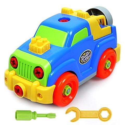 Jouet Assemblage Jeux De Construction Voiture Jeep Flexible Blocs Cadeau Pour Enfant Garçon Fille 3 Ans Et Plus