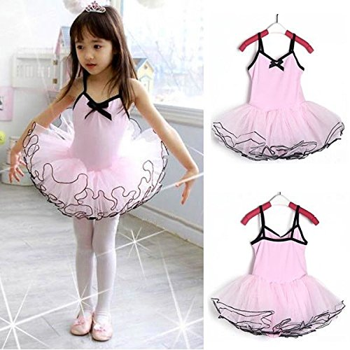 Saver 3-8Y Girl Party Gymnastikanzug rosa Ballett-Tanz-Ballettröckchen-Rock Fairy Dress