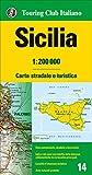 Sicilia 1:200.000 mapa de carreteras impermeable Touring Club Italiano. (Carte regionali 1:200.000)