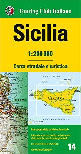 Sicilia 1:200.000 mapa de carreteras impermeable Touring Club Italiano. (Carte regionali 1:200.000) por VV.AA.