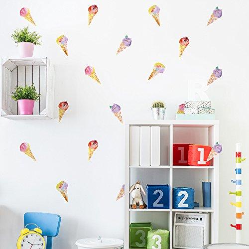 CHEZMAX Wandtattoo Aufkleber Selbstklebende, entfernbare DIY Art Wand Wandbild für Home Dekoration 6Stück Ice Cream
