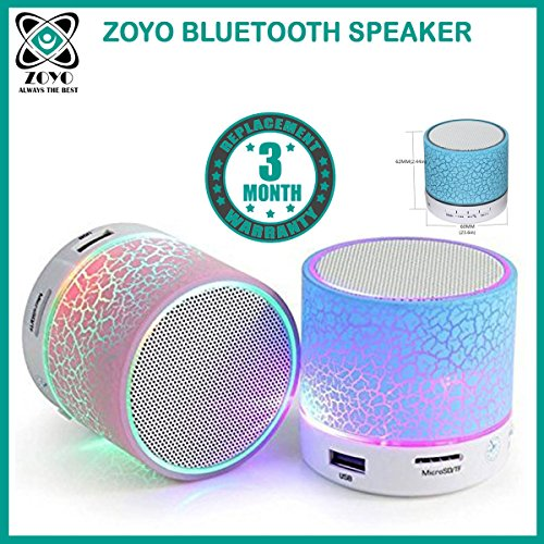 Zoyo Bluetooth Speaker With Led Wireless Bluetooth Speaker With Handsfree Calling Feature, Fm Radio & Sd Card Slot Compatible Samsung, Motorola, Sony, Oneplus, HTC, Lenovo, Nokia, Asus, Lg,Oppo,Vivo, Coolpad, Xiaomi, Micromax and All Mobiles With Android devices (Assorted Colors)  available at amazon for Rs.249
