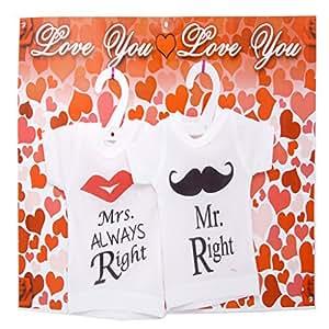 Ghasitaram Gifts Valentine Gift -Couple Mini T-shirts (Mr. and Mrs. Right)