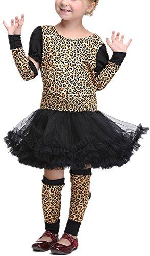 WLITTLE Halloween Kostüm Mädchen Kinderkostüm Katzenkostüm Leopardenkostüm Mädchen Leopard Cospalay Halloween Karnevalskostüme Katze Ballett Tierkostüm Katzen Kleid