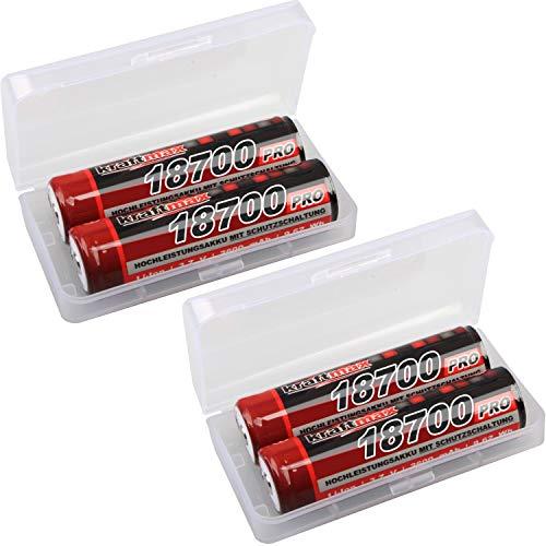 kraftmax 4er Pack 18700 Pro Akku mit PCB Schutzschaltung - speziell für LED Taschenlampen (3,7V / 9,62 Wh)