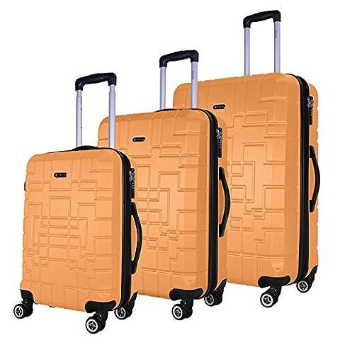 SHAIK® Serie XANO HKG Design Hartschalen Trolley, Koffer, Reisekoffer, in 3 Größen M / L / XL / Set 50/80/120 Liter, 4 Doppelrollen, TSA Schloss (Koffer Set, Gelb)