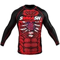 Smmash Blood - Camiseta de manga larga para deportes de lucha, color rojo y negro Talla:XXL