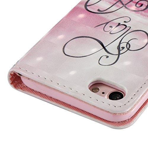 iPhone 7 Leder Brieftasche, iPhone 7 Wallet Case Cover, Aeeque® 3D Full Body Premium Trennbar Tragegurt [Standfunktion Kartenfächer] Hervorragend Rosa Meer der Wolken Muster Kunstleder Schale Handytas 3D Bunte Muster #11