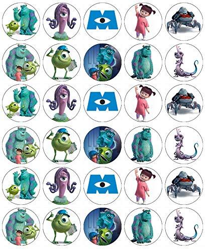 (Cupcake-Topper aus essbarem Oblatenpapier, Motiv: Monsters Inc Mike and Sully, 30 Stück)