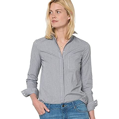 R Essentiel Donna Camicia A Righe, Popeline Stretch Maniche Lunghe 50