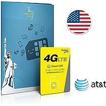Prepaid Sim-Karte USA AT&T Netz - 3GB 4G LTE - Unbegrenzte internationale Anrufe und Sms - 30 Tage