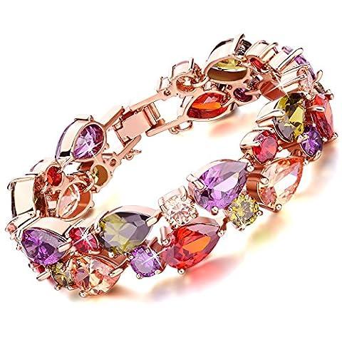 Rolicia Treasures String Gold Plate Multi Color Czech Crystal 19 +5 cm Bracelet Bangle Link for Your Love