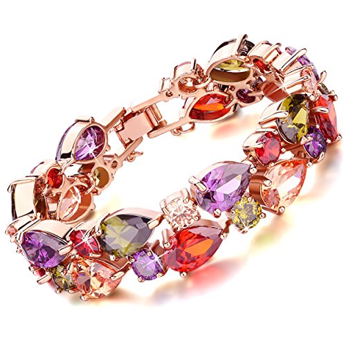 rolicia-treasures-string-gold-plate-multi-color-czech-crystal-19-5-cm-bracelet-bangle-link-for-your-