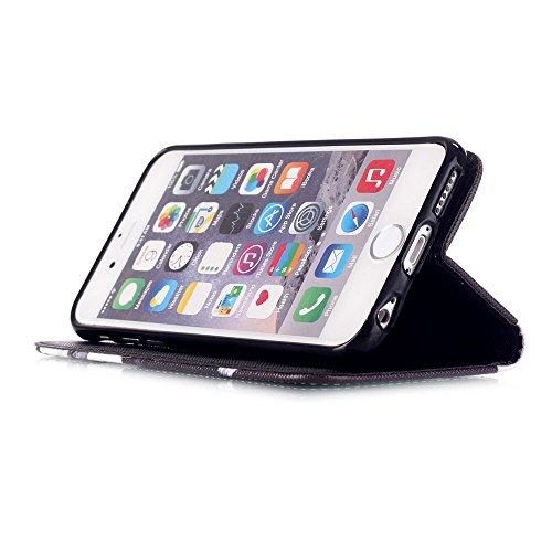 """Linvei Coque for Iphone 6 (4.7"""") PU Cuir Coque Portefeuille Case Avec la Fonction de Stand Pour iPhone 6s Black Smile"""