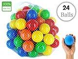 #8: EevOveE ™ 24pcs Color Balls for Kids / Pool balls Genuine Quality Set of 24 balls - 8 cm Diameter Similar Size of Cricket Ball