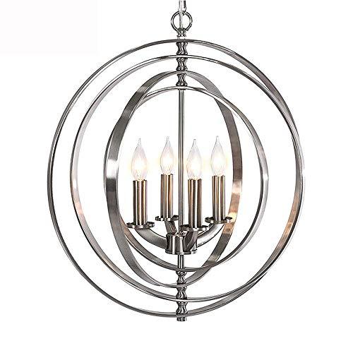 Shm6M Moderne Kronleuchter Kugel Orbits 4 * E14 Licht Kronleuchter Nickel gebürstet perfekt für Esszimmer Wohnzimmer Küche Büro Foyer Schlafzimmer Flur -