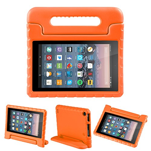 NEWSTYLE Fire 7 2015 Tablet Hülle Eva Stoßfeste Schutzhülle Tragbar für Kinder mit Ständer Schutzhülle Standfunktion für Amazon Fire 7.0 Zoll (5. Generation - 2015 Modell) Tablet,- Orange (Cases Orange Tablet 7)