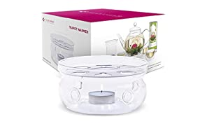 Teabloom Teapot Warmer (Standard Size -12 cm Diameter) - Handcrafted with Heat Proof High Quality Borosilicate Clear Glass - Tea Light Candle Include