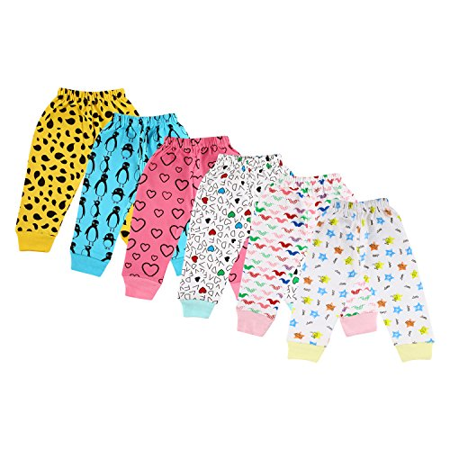Littly Unisex 100% Pure Cotton Baby Pyjamas Lowers for Kids Toddlers, Pack of 6 (Multicolor)