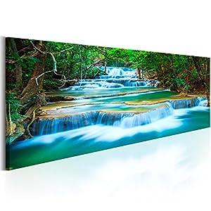 murando Bilder nachtleuchtend 135x45 cm Tag & Nacht Wandbilder nachtleuchtende Farben Kunstdruck Vlies Leinwand XXL Fertig Aufgespannt Wasserfall Natur Landschaft c-B-0160-ag-a