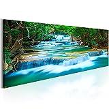 murando - Bilder 135x45 cm - Leinwandbilder - Fertig Aufgespannt - Vlies Leinwand - 1 Teilig - Wandbilder XXL - Kunstdrucke - Wandbild – Wasserfall Natur Landschaft c-B-0160-b-a