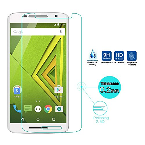 Febelo High Quality Crystal Clear Curve Edge Tempered Glass Screen Protector For Motorola Moto X Play