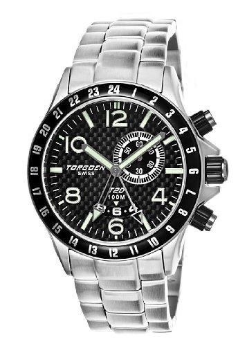 Torgoen - T20205 - Montre Homme - Quartz Analogique - Cadran Noir - Bracelet Acier Argent