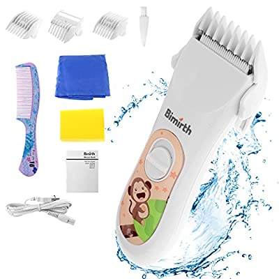 Bimirth Baby Children Hair Clippers, Cordless, Quiet Hair Clippers with Safe Ceramic Blade, USB Rechargeable, Waterproof, 3 Guide Combs