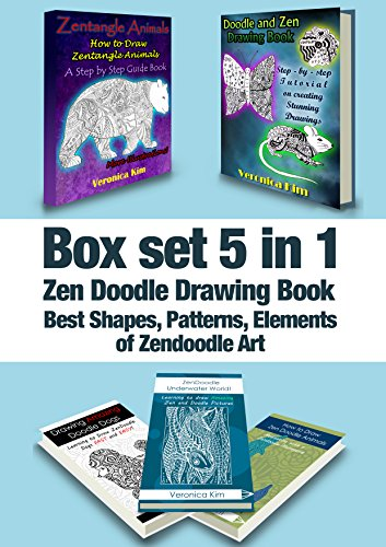Box Set 5 in 1: Zen Doodle Drawing Book: Best Shapes, Patterns, Elements of Zendoodle Art (English Edition)