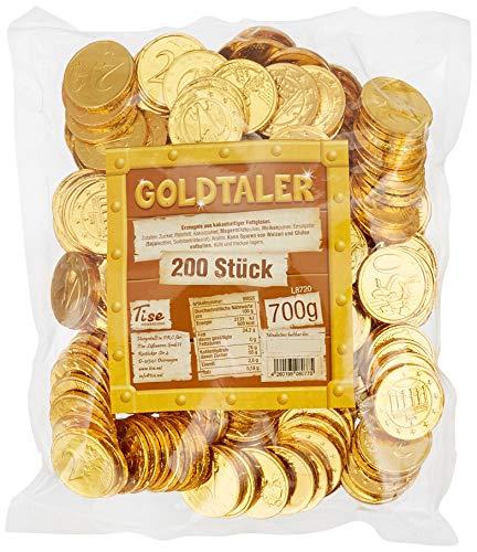 Tise Süsswaren Goldtaler Euromünzen Kakaotaler Schokoladengeschmack Kindergeburtstag Schatzsuche Karneval Fasching Wurfmaterial, 200 Stück