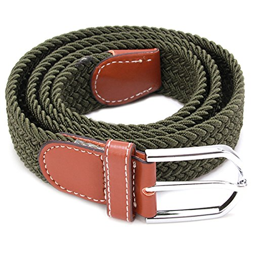 EJY Women Men Unisex Woven Stretch Belt for Trousers Summer Elastic Casual Retro Canvas Belts Colours (Army Green)