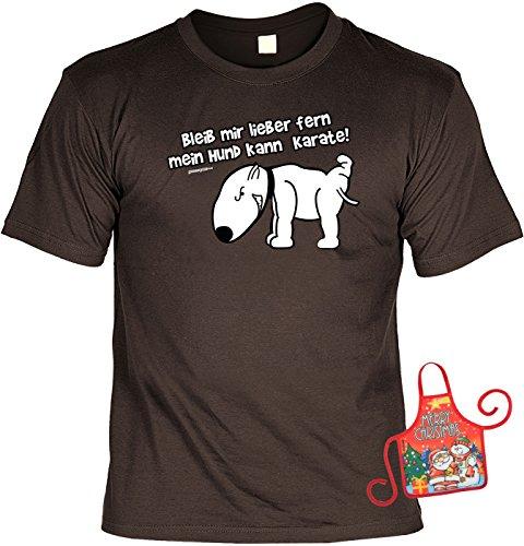 Richtige T Shirt Ideen Preis Das Ist (Hund Weihnachtsgeschenk-Set - lustiges Sprüche T-Shirt + Minischürze : Bleib mir lieber fern, mein Hund kann Karate! -- Hunde-Shirt + witziger Scherzartikel Flaschenschürze Gr:)