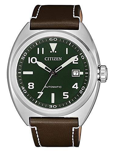 Citizen Herren Analog Automatisch Uhr mit Leder-Kalbsleder Armband NJ0100-38X