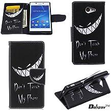 Sony Xperia M2 Funda, Dokpav® Ultra Slim Delgado Flip PU Cuero Cover Case para Sony Xperia M2 con Interiores Slip compartimentos para tarjetas - Sonrisa