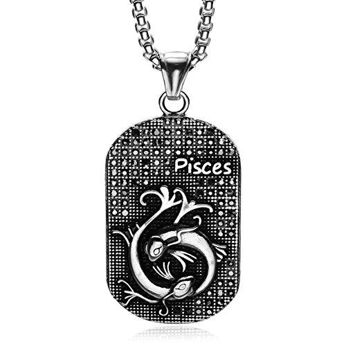 HIJONES Herren 12 Sternbild Halskette Anhänger aus Edelstahl Silber Schwarz Fische