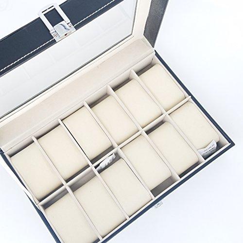 Schaubox für Armbanduhren, Kunstleder, mit 6/10/12 Einlegefächern, von GN Enterprises, 12 Grids Acryl-dekorative Edelsteine