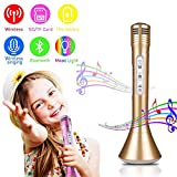 Kids Karaoke Microphone, leegoal Wireless Handheld Microphone KTV with Bluetooth Speaker and LED Lights for IPhone/Android/PC/IOS/Smartphone, Home Party Outdoor Music Playing Singing, Gold