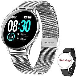 Smartwatch Reloj Inteligente, HopoFit HF05 Impermeable IP68 Podómetro Pulsómetros con Monitor de Sueño, Caloría, Notificación Llamada y Mensaje, Cámara Remoto para Andriod iOS, Hombres Mujeres(silver)