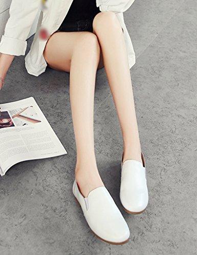 Chaussures Pour Femmes Hwf Chaussures Pour Femmes Printemps Chaussures De Style Anglais En Cuir Plat Unique Paresseux Femelle Chaussures Paresseuses (couleur: Blanc, Taille: 37) Blanc