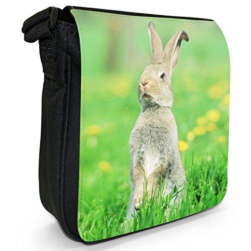 Kaninchen Hasen Kleine Schultertasche aus schwarzem Canvas Vorsichtiges braunes Kaninchen