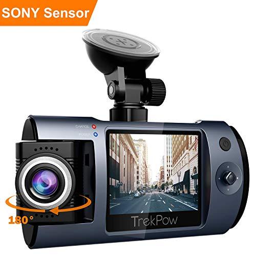 TrekPow Cámara de Coche T1 con 180° Rotatorio Lente, TrekPow HD 1080p T1 Coche DVR, Dash CAM con Sony Sensor, 170° Gran Ángulo,Grabación en Bucle, Visión Nocturna