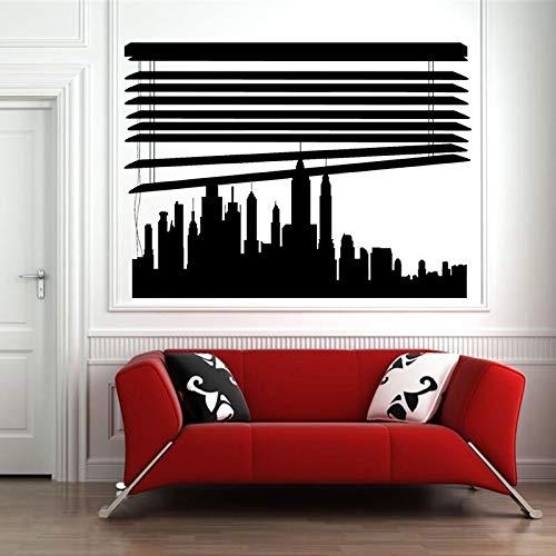 Badezimmer-jalousien-wand-schränke (Benutzerdefinierte Skyline Unter Jalousien Stadt Wandaufkleber Vinyl Home Decor Abnehmbare Wandtattoo Innen Dekoration 57X42CM)