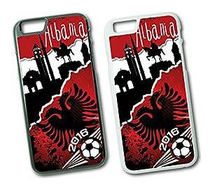 iPhone EM 2016 Albanien Fussball Fahne Hard Tasche Flip Hülle Case Cover Schutz Handy iPhone 6 Plus Schwarz