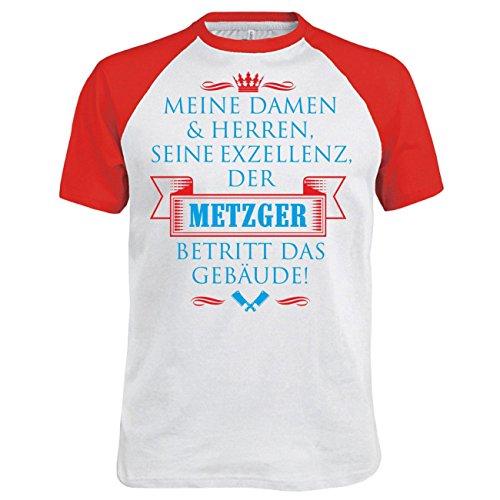 Männer und Herren T-Shirt Seine Exzellenz DER METZGER Weiß/Rot